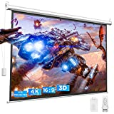 BOMAKER 4K HD Motorized Projector Screen, Eyes Protected, 3D Projection Screen 100'', Wrinkle Free Video Electric Movie Screen, 16:9, Wall/Ceiling Mounted with Wireless Remote, Use for Indoor/Outdoor
