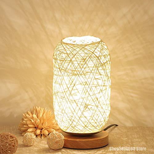 Lamest Design - Lámpara de mesa con cuerda de mimbre y madera para habitación con luz LED de noche, luz para casa, lámpara de noche, esta casa es la lámpara de mesita de noche amueblada, color beige