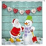 BROSHAN Weihnachts-Duschvorhänge für Badezimmer, Winterurlaub rot Weihnachtsbaum mit Ornamenten Geschenke Schneeflocken Deko Duschvorhang 72 x 72 inch Multi 7