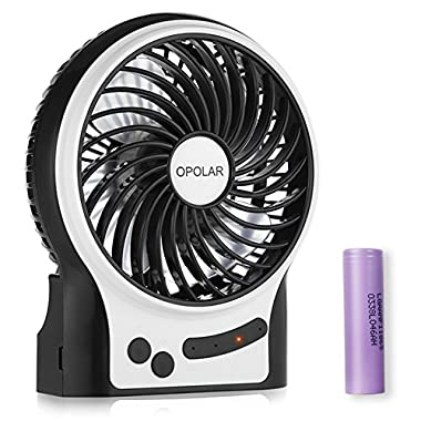 OPOLAR Battery Operated Fan, Personal Handheld Fan, 3-13 Working Hours, Portable, Rechargeable, 3 Speeds, Small Desk Fan with Internal and Side Light, Cooling for Boating,Travel,Camping, Fishing