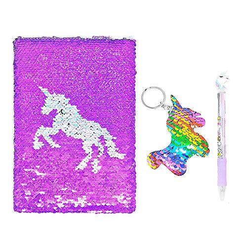 QearFun Unicorn Notebook A5 e penna Set per bambini, Flippy Sequin Journal Diario per ragazza Writing Cancelleria Forniture per studenti con un Sequin Unicorn regalo portachiavi