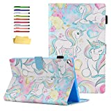 UUcovers for Amazon Kindle Fire HD 10.1' Protective Case 9th/7th Generation (2019 and 2017) with Pencil Holder Folio Stand PU Leather Card Pocket Wallet Smart Auto Wake/Sleep Cover, Pink Blue Unicorn