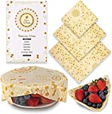 Beeswax Food Wrap Assorted Reusable Food Wraps Set of 3 , Eco Friendly, Sustainable, Washable Large, Medium and Small