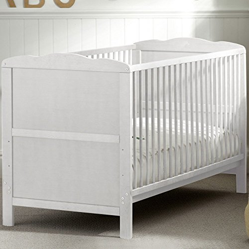 White Wooden Baby Bed Cot Bed with Mattress Included