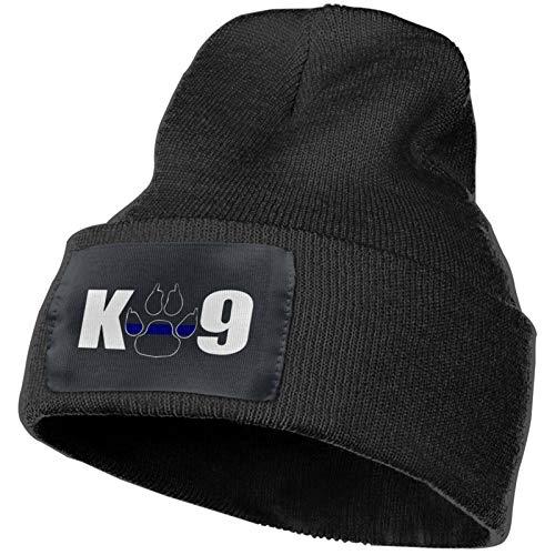 K9 Paw Police Officer Winter Beanie Hats Warm Knit Skull Cap for Men Women Black