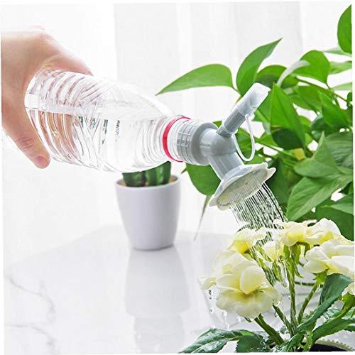 Tapa de la Botella de riego 2 en 1 plástico rociador Boquilla de Flor Botella regaderas de Ducha Herramienta para el jardín de la Cabeza (en Color Gris)