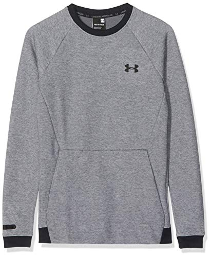 Under Armour Sudadera para Hombre Unstoppable Double Knit Crew, Hombre, Sudadera, OBER-77_1329712_035_XS, Gris y Negro., Extra-Small