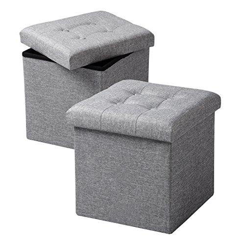 WOLTU SH06hgr-2 2er Set Sitzhocker mit Stauraum Sitzwürfel Sitzbank Faltbar Truhen Aufbewahrungsbox, Deckel Abnehmbar, Gepolsterte Sitzfläche aus Leinen, 37,5x37,5x38CM(LxBxH), Hellgrau