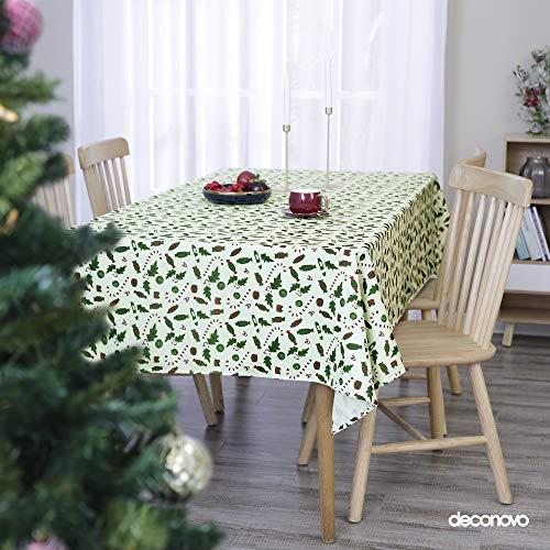 Deconovo Mantel de Mesa Rectangular Decorativo Impermeable Cocina 132 x 178 cm Verde