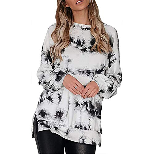 ZFQQ Autumn Damen Tintenverlauf Rundhalslaterne Ärmel Seite Split Open Shoulder Loose Sweater