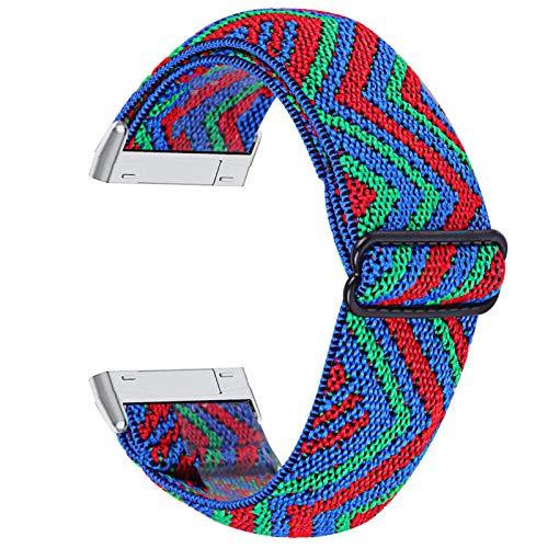 GhrKwiew Sport Bands per Versa 3, Fascia Intrecciata Estensibile Elastici Sportivi Regolabili Cintura da Polso Loop Donna Uomo Cinturino di Ricambio per Fit Bit Sense/Versa 3 (L13)