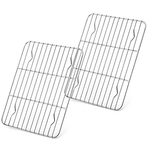 Baking Rack Set of 2, E-far Stainless Steel Metal Roasting Cooking Racks, Size - 8.6'x6.2', Non Toxic & Rust Free, Fit for Small Toaster Oven, Dishwasher Safe
