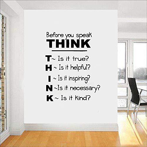yiyiyaya Think Before You Speak Motivierende Zitate Vinyl Wandtattoos Inspirierende Sprüche Wandaufkleber Klassenzimmer Schlafzimmer gelb 42x53 cm