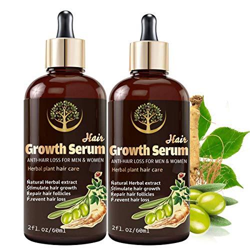Hair Growth Serum, 2Pcs Hair Growth Oil with Biotin, Hair Regrowth Treatment for Stronger, Thicker, Longer Hair