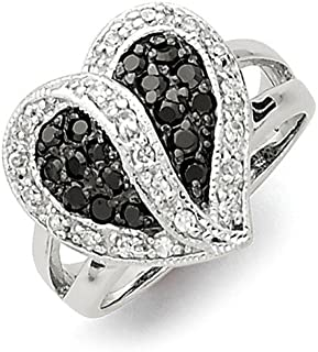 925 Sterling Silver Black Clear Cubic Zirconia Cz Heart Band Ring S/love Fine Jewelry For Women Gift Set