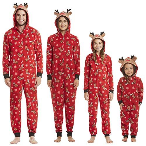 Pijamas Navidad Familiar Algodon Mono Pijamas Parejas e Hijos Trajes Navideños Pelele con Cremallera e Capucha Conjunto Mama Papá y Bebe Ropa de Dormir Invierno Onesie Reno Jumpsuit Overall Romper