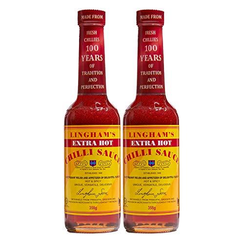 Lingham's Extra Hot Chilli Saucen Set, scharfe Chili-Saucen mit frischen, roten Chilis, aromatisch-süße Hot-Sauces mit natürlichen Zutaten, 2 Stück, je 280 ml