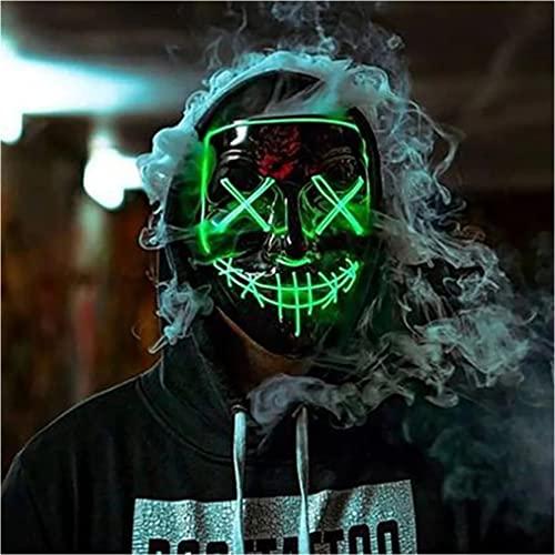 Retoo Halloween LED Maske mit 3 Beleuchtungsmodi, Scary Neon Purge Maske im Dunkeln Leuchtend für Herren & Damen, Grusel Maske für Kostümspiele, Feste, Cosplays, Karneval und Partys (Grün)
