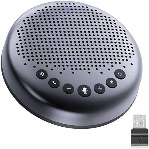 eMeet Bluetooth Konferenzlautsprecher - USB Freisprecheinrichtung für 5-10 Personen, Speakerphone 360° Spracherkennung, mit USB Dongle, für Zoom, Skype, VoIP-Kommunikation PC, Skype for Business usw.