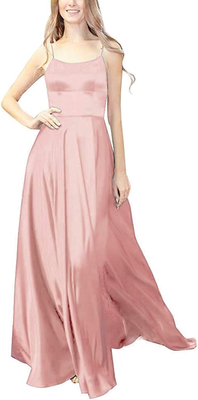 XSWPL Womens Halter Prom Dresses Long Split ALine Spaghetti Evening Gowns with Pockets