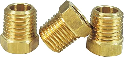 """NIGO Industrial Co. Brass Pipe Fitting, Hex Bushing, Nominal Pipe Size: 1/4"""" NPT Male x 1/8"""" NPT Female (Pack of 3)"""