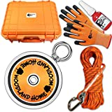 4000LB Kit Deluxe Double Sided Fishing Magnet Super Strong | Over 4000 LB Pull Force Combined | Durable Orange Magnet Fishing | Neodymium Rare Earth Magnet | (1814KG) 5.3in(135mm)| Lake Treasure Hunt