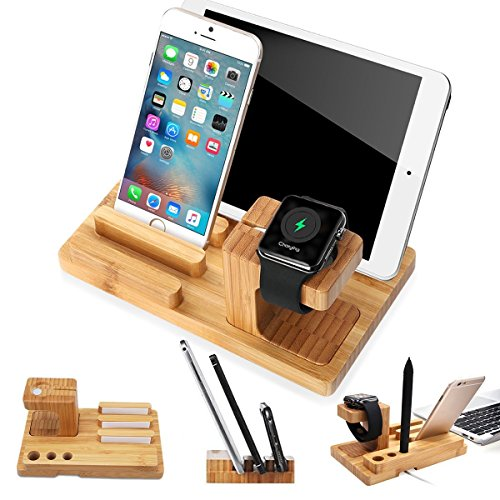 XPhonew Bamboo Wood Charging Dock Docking Station Charger Stand Cradle Holder Bracket Compatible iPhone XS MAX XR X 8 7 6S 6 Plus Apple Watch 2 3 4 iWatch 38mm & 42mm iPad Tablet Samsung Smartphones