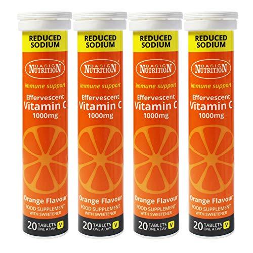 4 x 20 Tablets Orange Vitamin C One a Day Immune Collagen Support Vegetarian