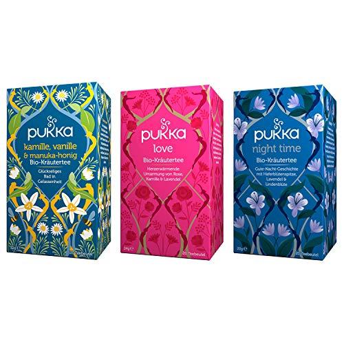 Pukka Bio-Kräutertee Set für Entspannung und Gelassenheit mit den Bio-Tee-Sorten Love, Night Time und Kamille, Vanille und Manuka-Honig. 100% bio und nachhaltig (3 x 20 Teebeutel)
