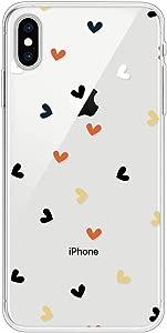 Miagon Clear Case for iPhone Max Creative Cute Design Slim Soft Flexible TPU Back Cover Phone Case Colorful Heart