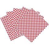 JIAHU 100 hojas de papel para envolver alimentos resistente a la grasa, color rojo y blanco