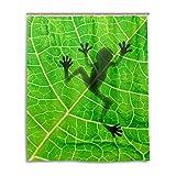 MyDaily Duschvorhang Frosch mit Blättern, 152,4 x 182,9 cm, schimmelresistent & wasserfest, Polyester-Dekoration für Badezimmer