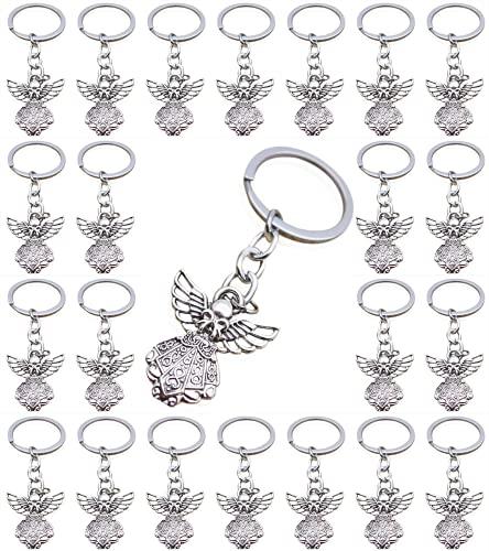 PHAETON 50PCS Silver Tone Guardian Angel Charm Keychain Key Ring