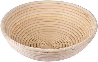 Cocoboo Round Banneton Brotform Bread Dough Proofing Rising Rattan Handmade Basket, Free Dough Scraper, Free Linen Liner B...