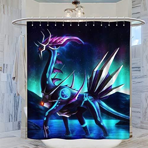 Dekorative Gardinen für Badezimmer, Hotel-Qualität, Anime-Pokemon-Drache überquert das Wasser, bunt, abstrakter Duschvorhang, 183 x 183 cm