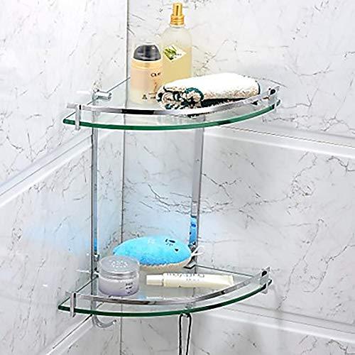 ZHHk Estante Doble Moderno del Cuarto de baño del triángulo del Vidrio Festoneado Acero Inoxidable Moderno/Vidrio 1 - Estante/Estante del baño del Cuarto de baño del Hotel