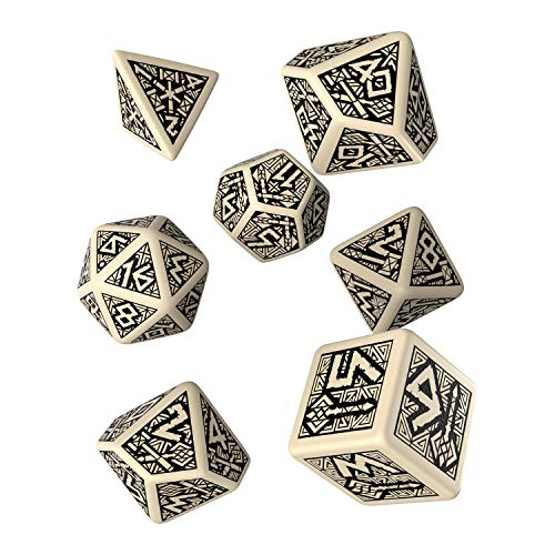 Q WORKSHOP Dwarven Beige & Black Rpg Ornamented Dice Set 7 Polyhedral Pieces