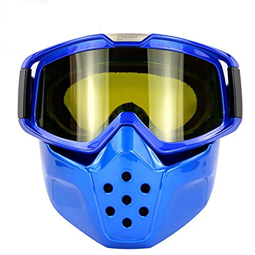 Liergou Occhiali da Sci Occhiali da Moto Harley Occhiali Retro da Esterno Occhiali Antipolvere Antivento Occhiali da Equitazione Occhiali da Ciclismo (Colore : Suzuki Blue And Yellow)