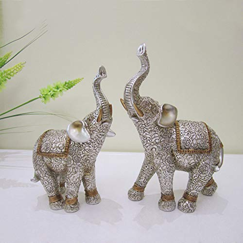 Gishima Set of 2 Elephant Statues with Trunk Up Lucky Feng Shui Elephant Collectible Figurines Home Decor&Gifts