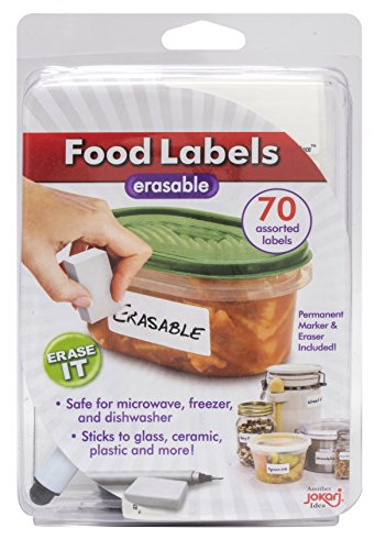 Jokari 47826 - Starter-Pack Food Labels - für löschbare Lebensmitteletiketten mit 70 verschiedenen Etiketten, Radierer und Stift - Weiß - EINWEG