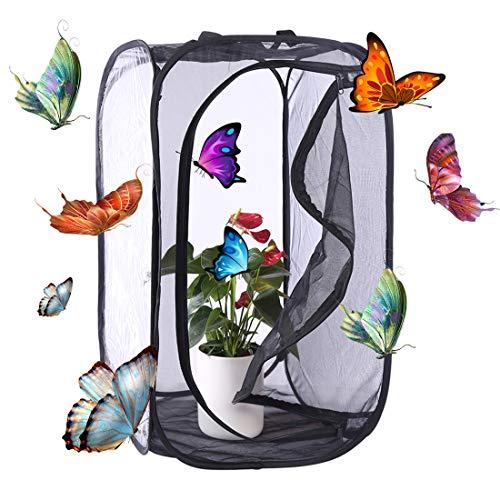 Macium Schmetterlings Habitat Käfig, Faltbarer Insekt Und Schmetterling Habitat Käfig Pop-Up Schutz Käfig - 35 x 35 x 60cm