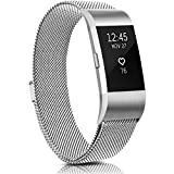 Meliya Metal Bands Compatible with Fitbit Charge 2, Stainless Steel Magnetic Lock Replacement Wristbands for Fitbit Charge 2 Women Men Small Large (Large, Silver)