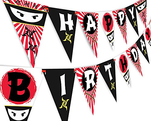 Ninja Happy Birthday Banner Pennant - Ninja Party Banner - Made in The USA