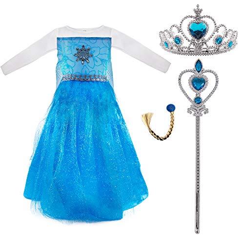 Conjunto Disfraz de Princesa Elsa para Nias, Vestido de Reina Frozen, Accesorios Tiara de Corona, Vara de Hada, Trenza para Fiesta Carnaval Cosplay Cumpleaos (Talla L /130 cm)