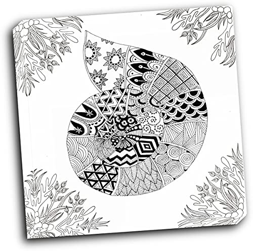wallsthatspeak BW Nautilus Boardered 16x16 Gallery Wrapped Stretched Canvas