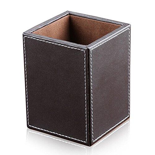 KINGFOM Portapenne da scrivania in ecopelle, colore: Marrone