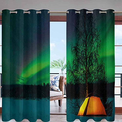 Dasnh Waterproof Sun Light Blocking Grommet Top Curtain Panel Camping Tent Under Magnetic Field W84 x L108 Perfect for Your Patio, Porch, Gazebo, or Pergola