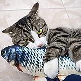 Cysincos Katzenspielzeug Fisch, Interaktives Spielzeug für Katzen, USB Elektrische Plüsch Fisch Spielzeug Katzen Intelegenz Spielzeug zum Beißen, Kauen und Treten