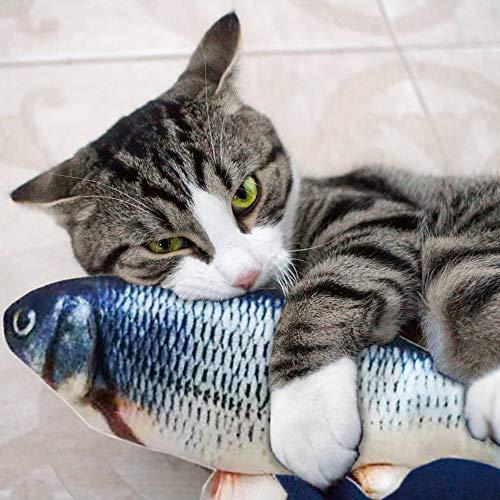 Cysincos Elektrische Fische, Katze Interaktive Spielzeug, USB Elektrische Realistische Plüsch Simulation Fisch für alle Kätzen zum Spielen, Beißen, Kauen und Treten