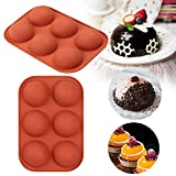 Half Ball Sphere Silicone Cake Mold, Circle Muffin Cookie Baking Chocolate Mold Pan Fondant Sugar Craft Tools DIY Mould Wedding Cake Decor for Mousse Gummy Fat Bombs Ice Cube (2PCS)